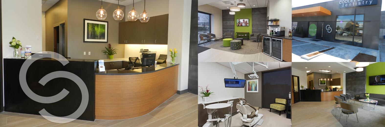 Collage showing front desk, lobby, and operatories of Cooley Smiles in Kenmore, WA